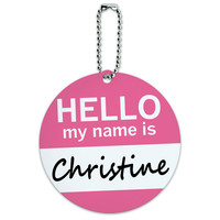 Christine Hello My Name Is Round ID Card Luggage Tag