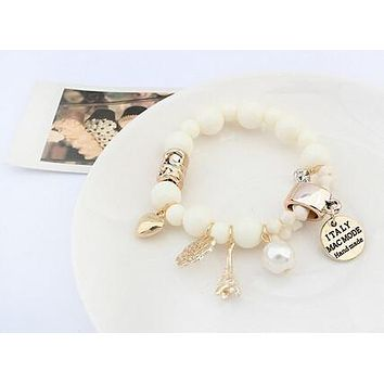 Fashion Wrap Cuff Charms Crystal Simulated Pearl Beads Hearts Elastic Force Bracelet For Women