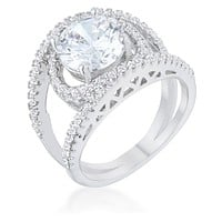 Marcie 3ct CZ Rhodium Contemporary Ring