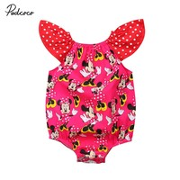 Cute Cartoon Kids Baby Girls Minnie Mouse Polka Dot Ruffle Sleeveless Romper Jumpsuit Sunsuit Outfits Clothes