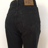 90s Calvin Klein Slim Black Mom Jeans size 26, 27 ~ Vintage High Waisted Denim ~ Hipster Boho Festival ~ Leather Patch Logo ~ 6597 ~ 27x32