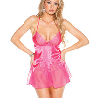 Charmeuse & Lace Chemise W-adjustable Straps & G-string Passion Pink Lg