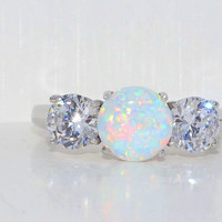 Beautiful Opal Zirconia Ring White Gold Quality