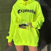Autumn and winter women's new letter printing plus long fluorescent color sweater women