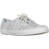 Keds Champion Slub Fashion Sneakers, Cream Stripe, 7.5 US / 38 EU