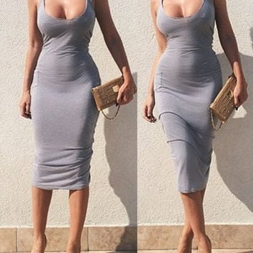 Gray Sleeveless U-Neck Bodycon Dress
