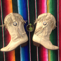 Leather Fringe Concho Western Boots - Beige Cream Leather Boots - ACME Fringe Boots - Cowboy Cowgirl - Rocker Boots - Rock n Roll  Desert
