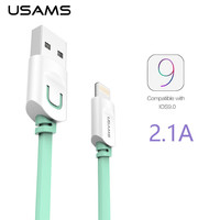 For IPhone Cable IOS 9 USAMS 2.1A Fast Charging 1m 1.5m Flat Usb Charger wire cobo Sync Data Cable For iPhone 6 5 5s  ipad