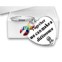 """Autism Awareness Ribbon Key Chain with words """"Together We Can Make A Difference"""""""