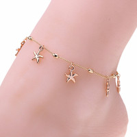 Trendy Women Starfish Anklet Foot Chain Sea Star Ankle Barefoot Beach Bracelet SM6