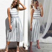 Jumpsuit Women Sleeveless Striped