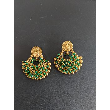 Goddess Lakshmi Traditional Antique gold Chandbali Earrings with shiny crystal bead