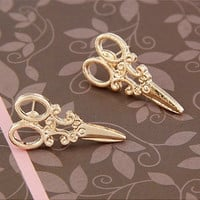 Tiny Gold Scissor Earrings