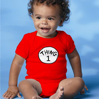 "Dr Seuss baby Onesuit, one piece ""Thing 1"" personalized kids clothes"