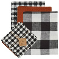 Autumn Checkerboard 3 Dishtowel & 1 Dishcloth Set