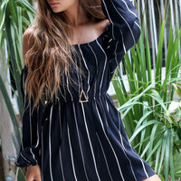 Lone Star Black Stripe Off The Shoulder Dress
