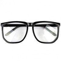 Oversized Tortoise Shell Retro Nerd Geek Black Clear Lens Plain Glasses