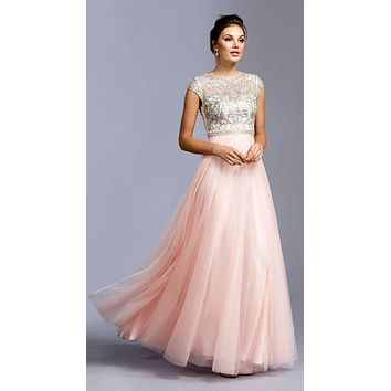 Blush Beaded A-line Long Formal Dress with Cap Sleeves