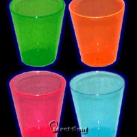 N250 - Neon Blacklight Reactive 2 Ounce Shot Glasses - 50 count (Individual Colors)