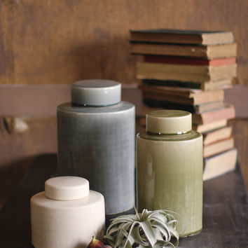 Set of 3 Round Ceramic Canisters with Round Tops- One Each Color