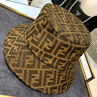 Fendi 2020 new retro double F jacquard letter fisherman hat
