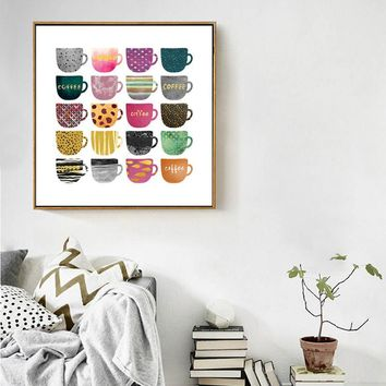 SURE LIFE Beautiful Different Coffee Cups Canvas Wall Art Painting Nordic Poster and Print Pictures For Dining Room Home Decor