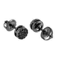 Black Finish Round Earrings Screw Back Prong Set Pierced Studs