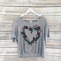 Rose Heart Tee (Grey)