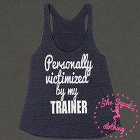Personally Victimized Triblend Tank Top. Womens Fitness Tank Top. Workout Tank. Gym Tank Top. Racerback burnout. Beast Mode. Beast Tank Top