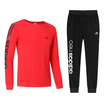 ADIDAS 2018 autumn and winter new casual outdoor sportswear two-piece red