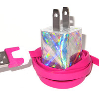 Holographic Rainbow Plaid iPhone Charger with by PersonalPower