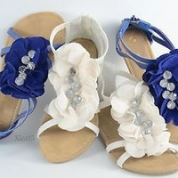 Women's Sandals Gladiator Wedge Shoe Flower and Bead Design Details NEW