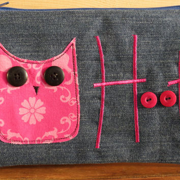 Recycled Denim and Pink Owl Applique Pencil Case, pouch, make-up bag, craft bag