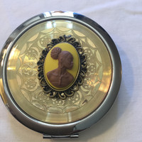 Yellow Vintage Cameo Compact Mirror/Free Shipping