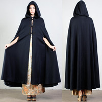 vintage HOODED CLOAK black draped cape shawl coat winter victorian hippie boho gypsy avant garde dress 70s 1970s one size os
