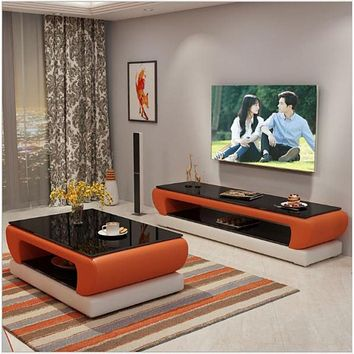 Urban Style Leather Coffee Table With TV Stand