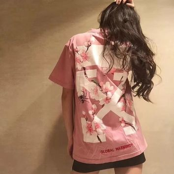 Pink bees, flowers, flowers, arrowheads, printed short sleeve men's and women's sweethearts over size T-shirt summer