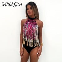 Sexy tassel backless bodysuit women tops Sleeveless halter sequin jumpsuits rompers Colorful female skinny party jumpsuit 2018
