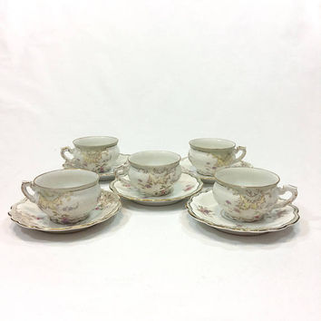 Set Five Antique Demitasse Cups Six Saucers, Hand Painted Pastel Flowers, Eggshell Molded Porcelain, L. Straus & Sons German China