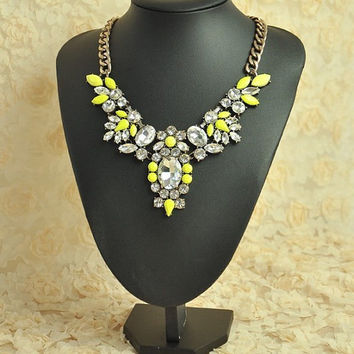 Yellow Drop Shape Jewelry, Wedding Jewelry Chunky Necklace, Statement Necklace, Bubble Necklace Set ,Bib Necklace, Crystal Jewelry