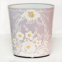 Worlds Away Oval Wastebasket Garden Lavender and Cream