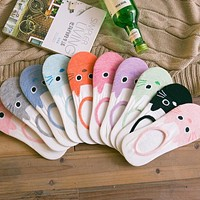 1Pair/2Pcs Summer Cute comfortable cotton bamboo fiber girl women's socks ankle low female invisible color girl boy hosier