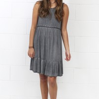 Moment in Time Lace Up Back + Ruffle Dress {Ash}