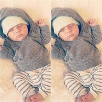 2pcs Newborn Toddler Kids Baby Boy Girl Long Sleeve Warm Hooded Coat Tops + Pants Outfits Sets