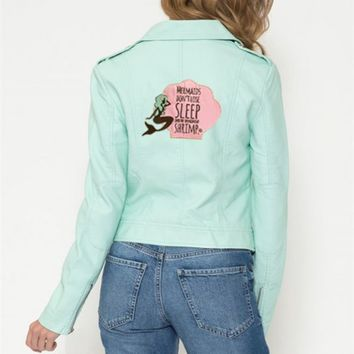 Jackets - Quirky Mermaid Moto Jacket in Mint
