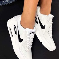 Nike Air Max 90 Unisex Sport Casual Fashion Air Cushion Sneakers Women Men Running Leisure Shoes White