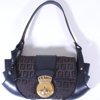 FENDI COMPILATION MONOGRAM BLACK CANVAS LEATHER BRASS HANDBAG