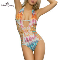 2017 New Sexy Bandage One Piece Bikinis Snake Tie Dye Pattern Surfing Swimsuits Women Push Up Swimwear Bathing Monokini femme