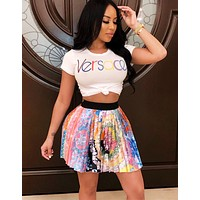 Versace Fashion New Letter Print Top And Multicolor Skirt Two Piece Suit Women