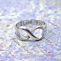 Infinity ring sterling silver engraved  I love by Hellomyflower